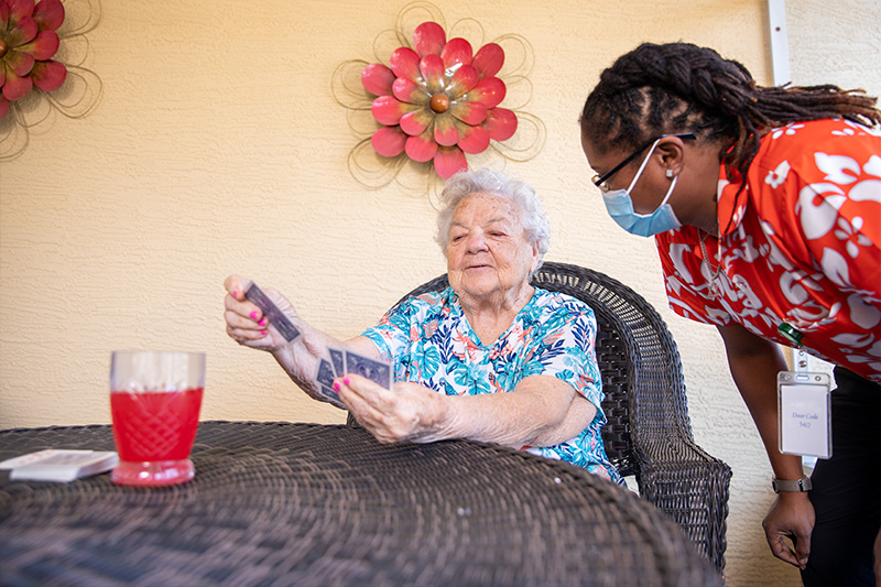 residents playing cards