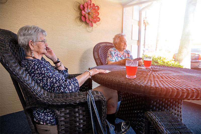 residents sitting outside